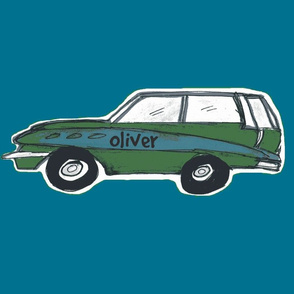 vintage green wagon - PersonalziedLarge-ocean