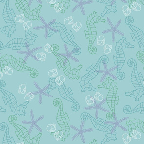 Blue & Green Seahorses on Peaceful Blue Background