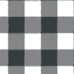 Large Charcoal Gray Buffalo Check Gingham