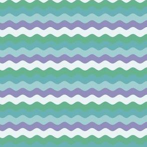 Ribbon Waves in Blues, Greens, & Purples