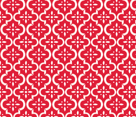 Lobster Red Ikat Moroccan Flower fabric by sugarfresh on Spoonflower - custom fabric