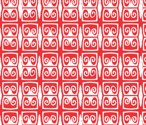 Morobe_shield_red fabric by malolo on Spoonflower - custom fabric