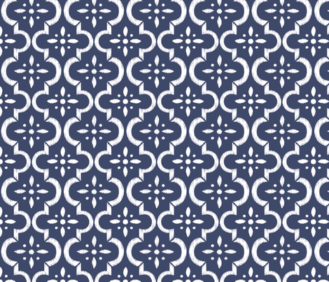 Navy Ikat Moroccan Flower fabric by sugarfresh on Spoonflower - custom fabric