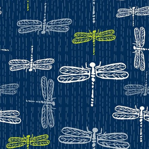 Dragonflies Navy Lime
