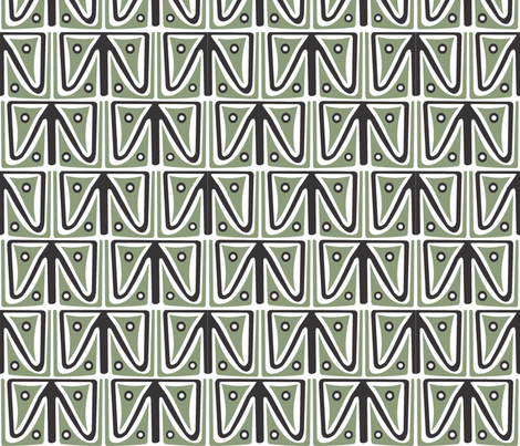 Lapun_green_black fabric by malolo on Spoonflower - custom fabric