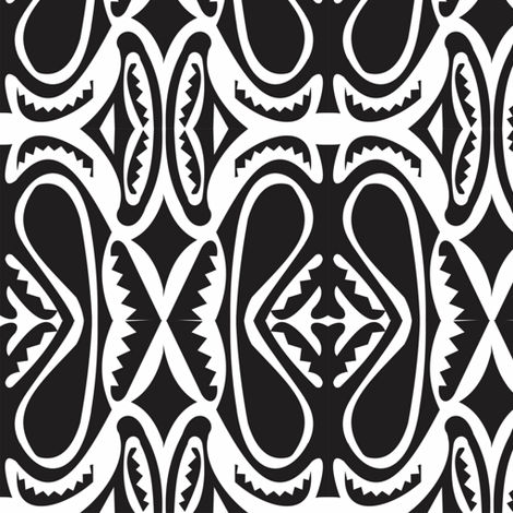 Modern_Sepik_black_white fabric by malolo on Spoonflower - custom fabric