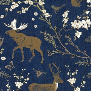 Spring Toile (Navy + Gold)