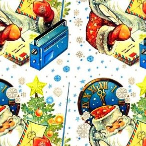 Merry Christmas Santa Claus clocks snowflakes stars trees baubles radios letters envelopes writing quills pens vintage retro kitsch whimsical