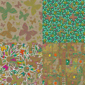 Fat Quarters of Floating Flowers
