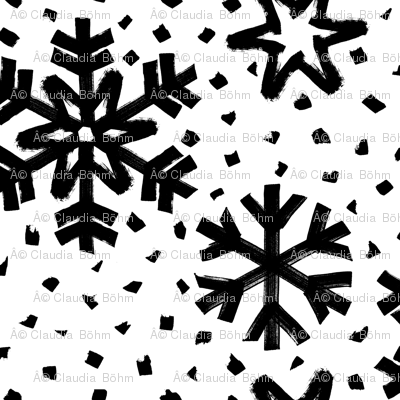 monochrome big snowflakes dots