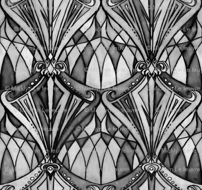 Black And Charcoal Grey Art Deco Pattern Wallpaper