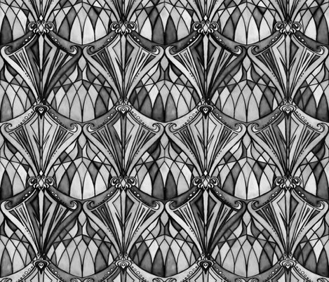 Design rdeco sketch black and white 2 shop preview black and charcoal grey art deco pattern fabric
