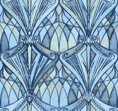 Navy Blue And Grey Art Deco Pattern Fabric Micklyn