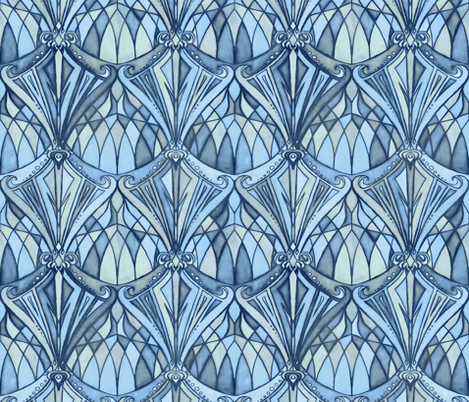 Navy, Blue and Grey Art Deco Pattern wallpaper - micklyn - Spoonflower