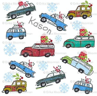 Vintage cars  Snowfall Holiday PERSONALIZED  Kason