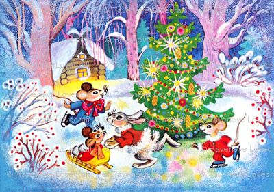 Merry Christmas Winter Snow Trees Mouse Mice Rats Rabbits
