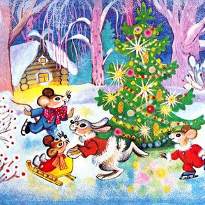 Merry Christmas winter snow trees mouse mice rats rabbits sleigh flowers skating ice skates cottages stars streamers baubles playing vintage ribbons