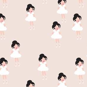 Sweet pastel ballerina girls ballet dancer in white princess dress illustration fabric for girls