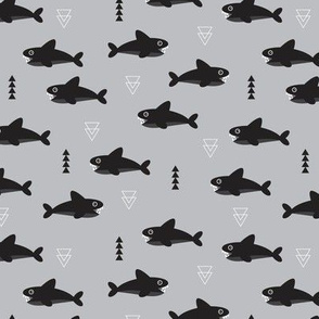Cool gray geometric baby shark australian theme fish illustration in scandinavian gender neutral colors for kids