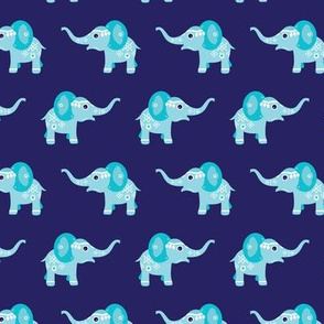 Adorable blue baby elephant illustration oriental arabic theme pattern for boys