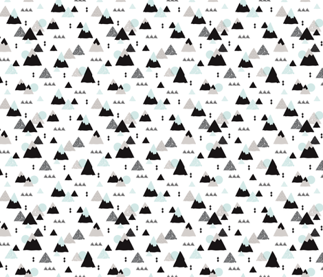 Geometric fuji japan mountain illustration winter woodland  fabric by littlesmilemakers on Spoonflower - custom fabric