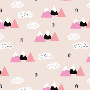 Girls fuji mountain geometric climbing landscape with soft pastel colors and white clouds