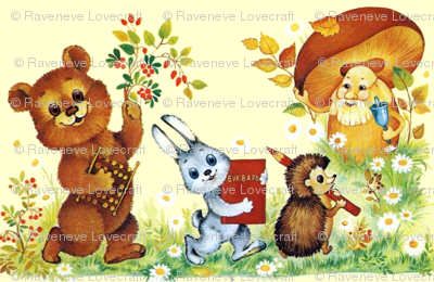 flowers daisy daisies berry cherry bears abacus toys rabbits bunny bunnies books hedgehogs color pencils mushrooms bells schools students animals