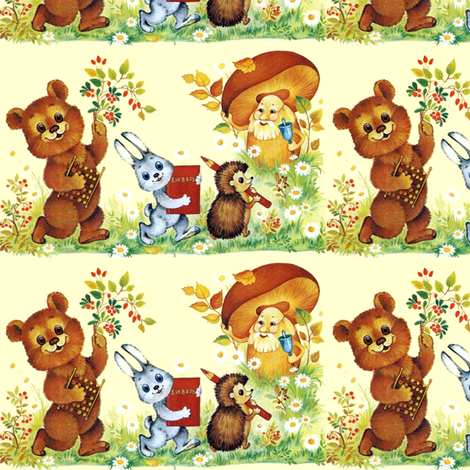 flowers daisy daisies berry cherry bears abacus toys rabbits bunny bunnies books hedgehogs color pencils mushrooms bells schools students animals fabric by raveneve on Spoonflower - custom fabric