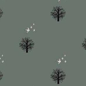 Autumn, winter trees and birds