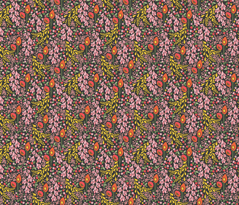 California blooms in black fabric by thislittlestreet on Spoonflower - custom fabric