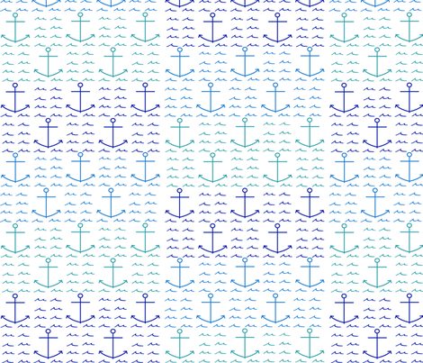 anchor and waves fabric by kathrynmariedesigns on Spoonflower - custom fabric