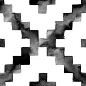 Watercolor Diamond Chevron - Black & White