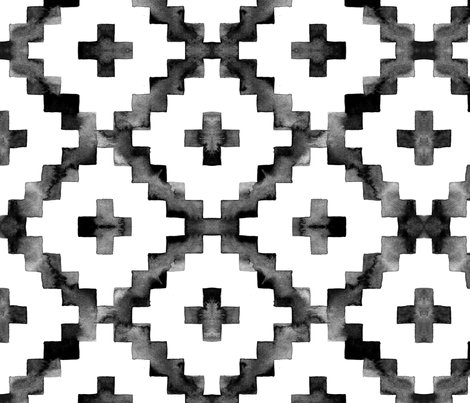 Watercolor Diamond Chevron - Black & White fabric by taraput on Spoonflower - custom fabric