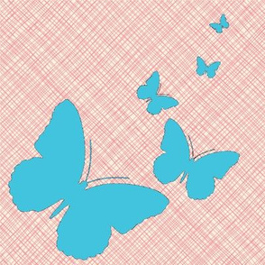 Pink and Turquoise Sketchy Butterflies