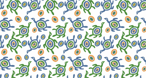Turtles_white fabric by malolo on Spoonflower - custom fabric