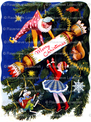 Merry Christmas trees stars toys clowns skaters dolls crackers fishes squirrels nuts rabbits music Balalaika snowflakes streamers decorations vintage