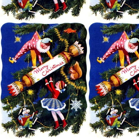 Merry Christmas trees stars toys clowns skaters dolls crackers fishes squirrels nuts rabbits music Balalaika snowflakes streamers decorations vintage fabric by raveneve on Spoonflower - custom fabric