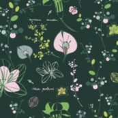 Botanical sketches on dark green