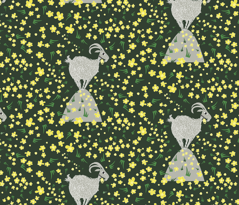 High on a Hill Stood An Old Billy Goat fabric by colour_angel_by_kv on Spoonflower - custom fabric