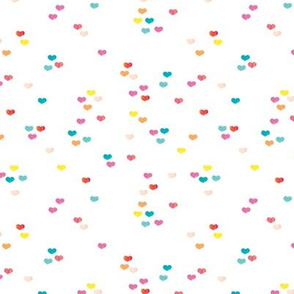 Little colorful watercolor hearts cut sprinkles confetti for birthday and party fabric