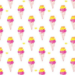 Summer watercolor illustration ice cream cone in hot pink orange and yellow