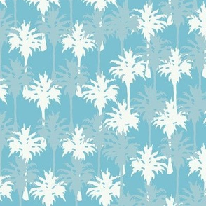 Palm Trees in White & Gray Blue
