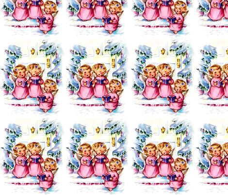 Merry Christmas winter snow angels cherubs caroling choir singing trees houses vintage retro kitsch music fabric by raveneve on Spoonflower - custom fabric