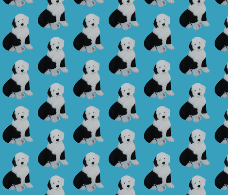 Old English Sheepdog Puppy fabric by sheepiedoodles on Spoonflower - custom fabric