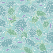 Sea Turtles in Blues & Greens with Purple Fish