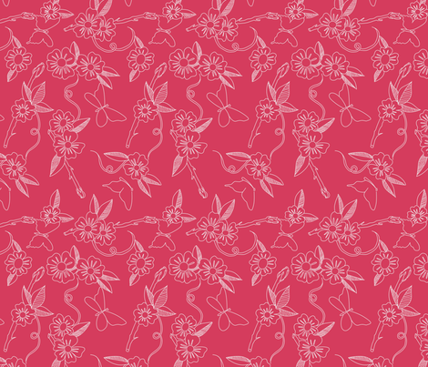 Butterfly Background Raspberry fabric by inner_child_designs on Spoonflower - custom fabric