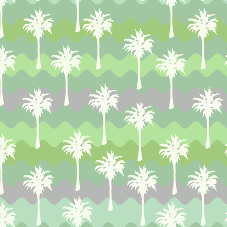 Ribbon Waves with White Palm Trees fabric by lauriekentdesigns on Spoonflower - custom fabric