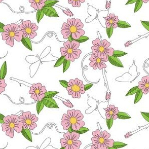 Butterfly Background Pink Flowers