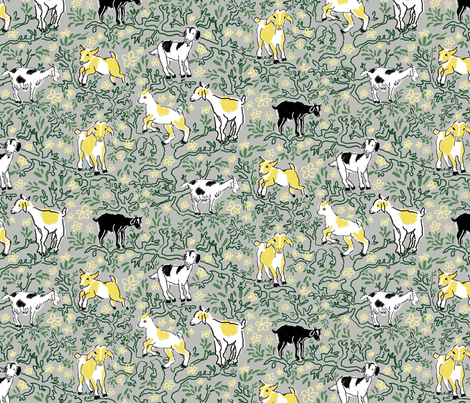 Tree climbing goats fabric by vinpauld on Spoonflower - custom fabric