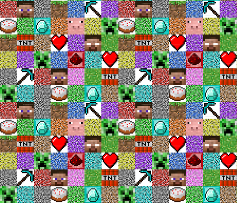 Mine craft fabric daniellesteer spoonflower for Minecraft fabric by the yard